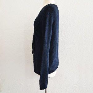 Forever 21 Sweaters - Forever 21 Navy Fringe Sweater Size Medium NWT